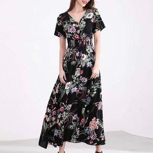 XL Elegant Tie Swing Boho Floral Maxi Dress New